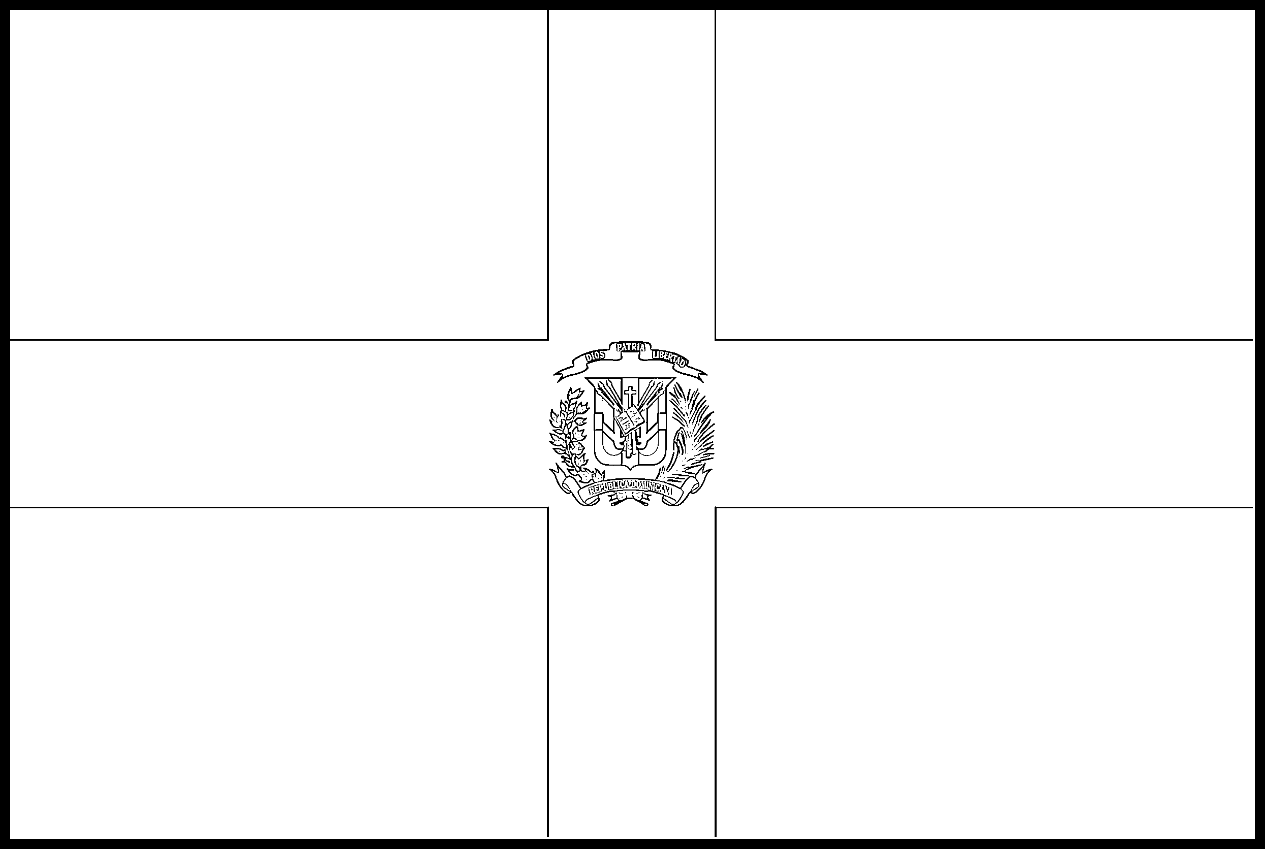 Dominican_Republic Flag Colouring Page