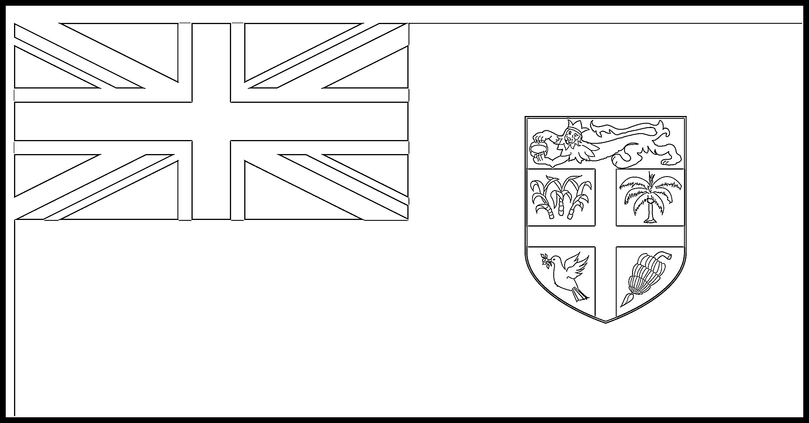 Fiji Flag Colouring Page