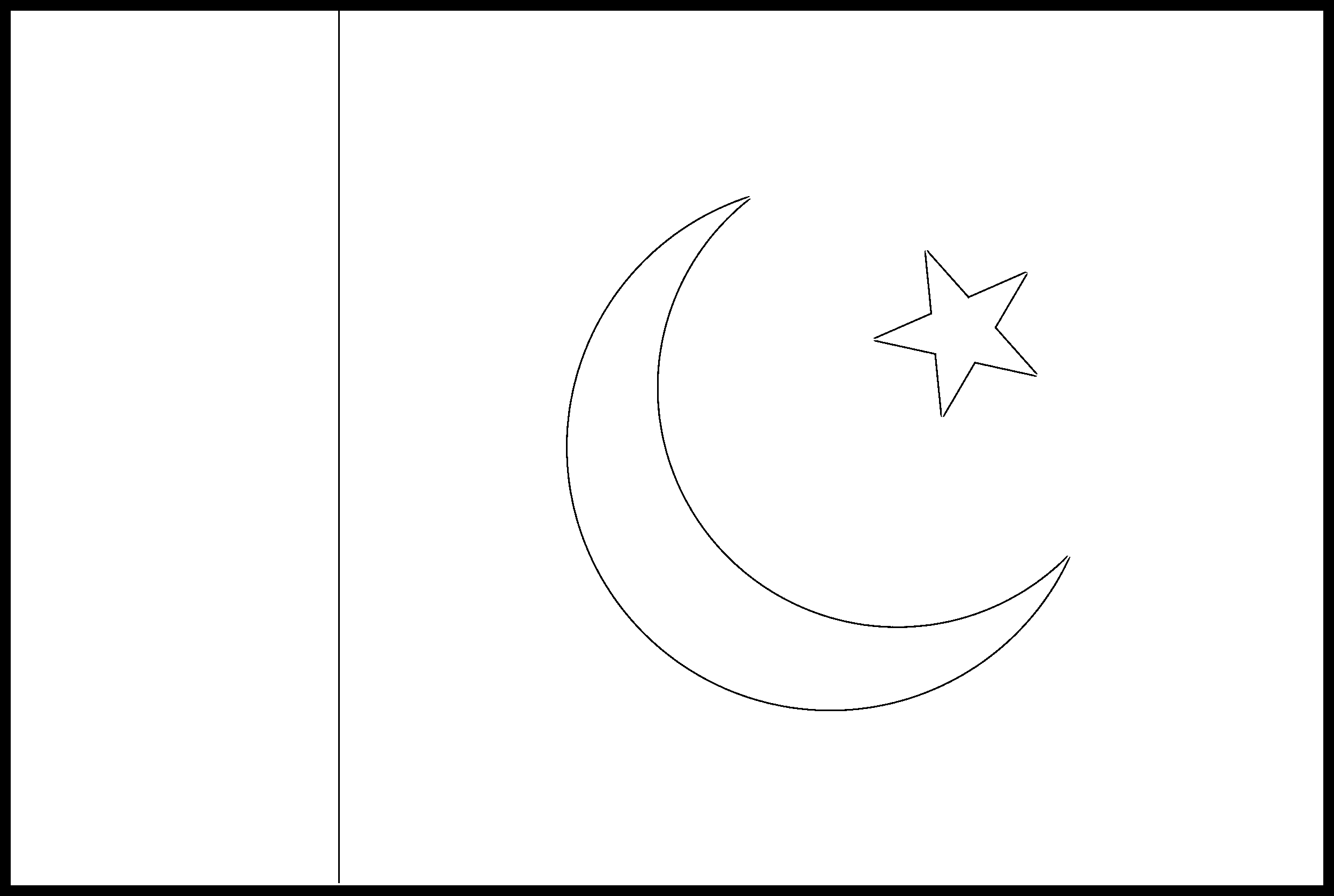 Pakistan Flag Colouring Page
