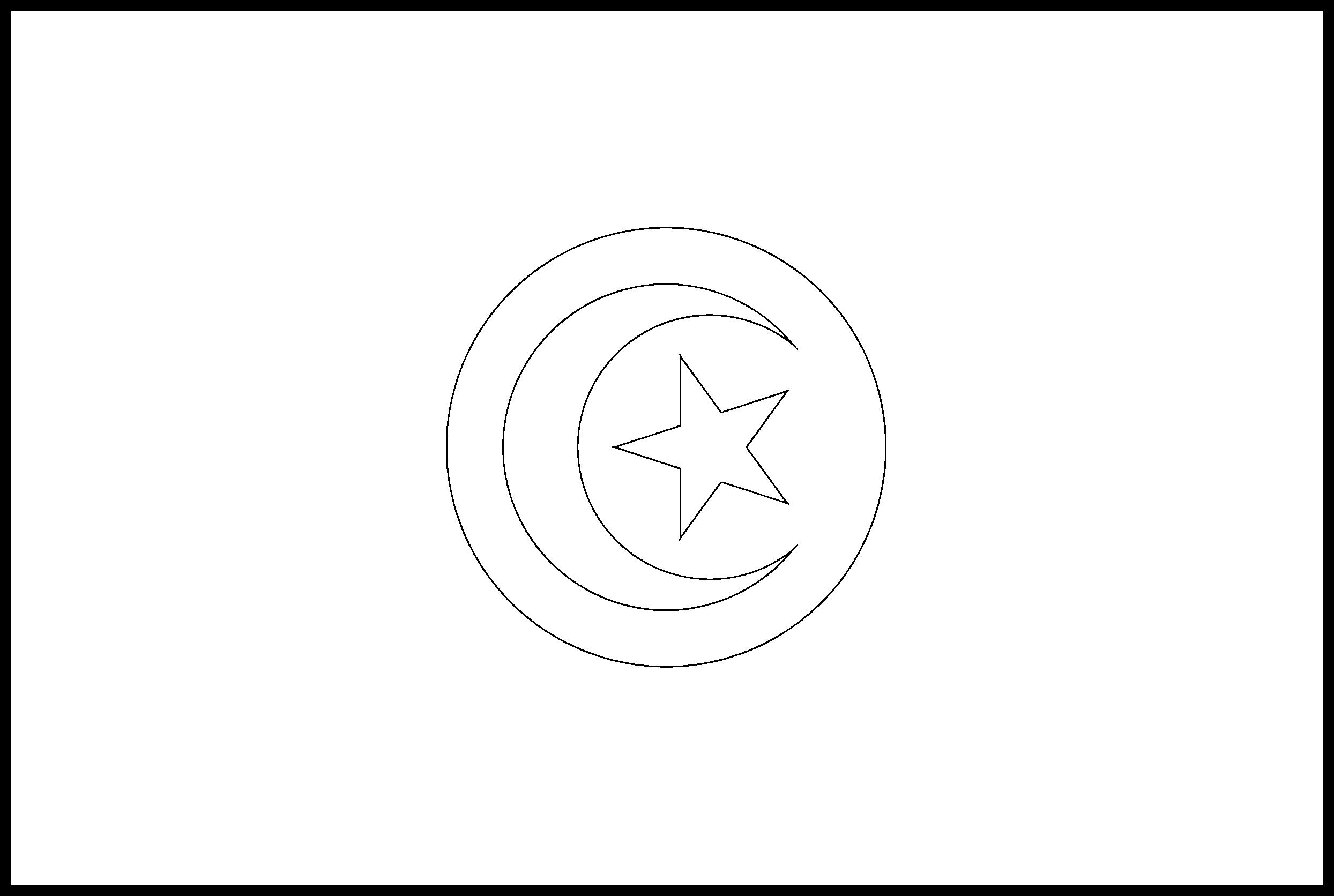 Tunisia Flag Colouring Page