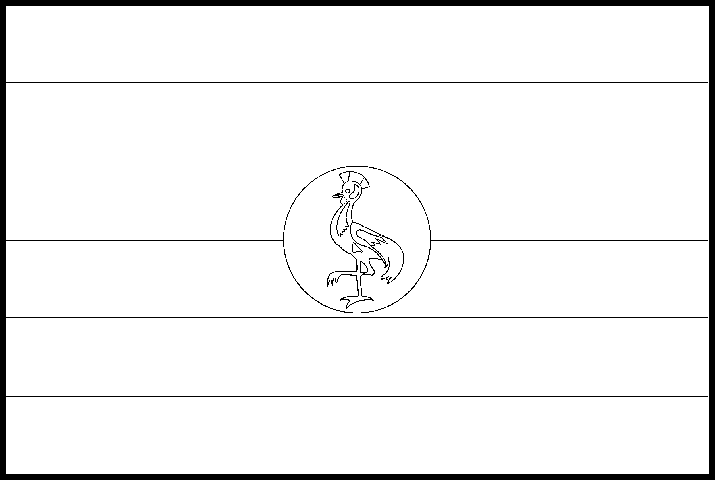 Uganda Flag Colouring Page