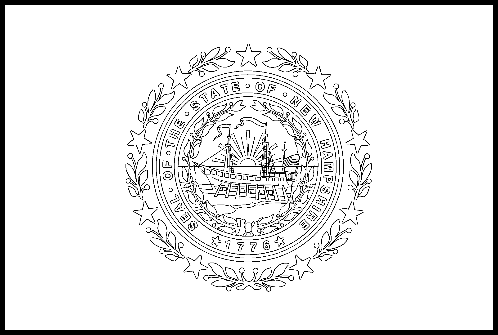 New_Hampshire Flag Coloring Page