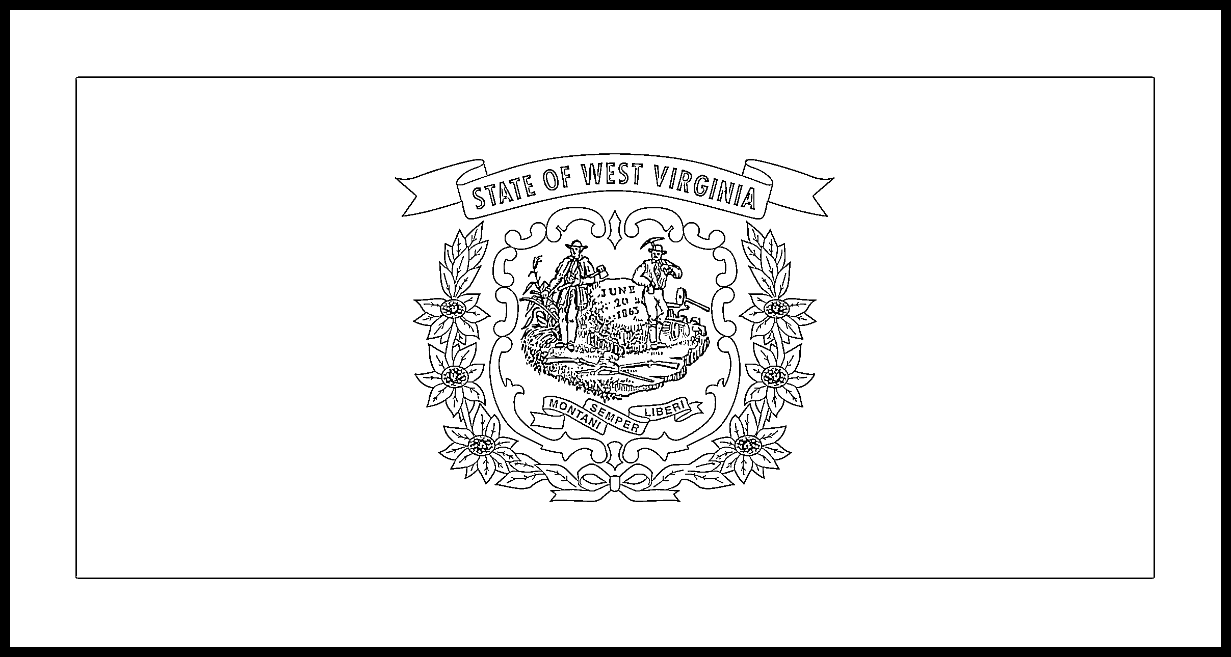 West_Virginia Flag Coloring Page