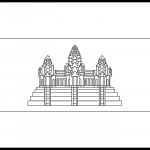 Cambodia Flag Colouring Page