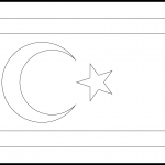 Turkish Republic of Northern Cyprus Flag Colouring Page